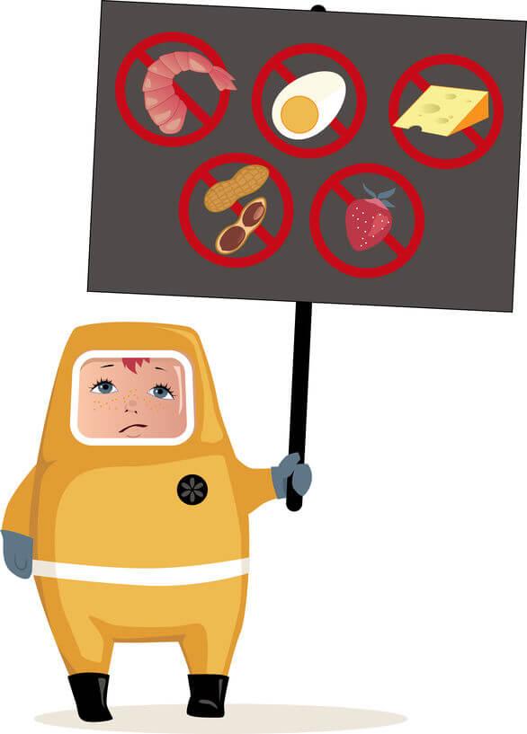 避免那些較容易會導致過敏的食物,如有殼的海鮮、核果和花生等